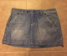 American Eagle Jean Denim Skirt Distressed Mini Size 4 #AmericanEagleOutfitters #Mini