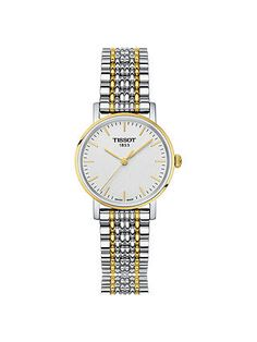 Buy Tissot Women's Everytime Bracelet Strap Watch, Silver/Gold from our Women's Watches range at John Lewis & Partners. Stainless Steel Bracelet, Stainless Steel Case, Jewelry Clasps, Jewelery, Modern Watches, Watch Sale, Fashion Bracelets, Bracelet Watch, Crystals