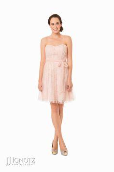 Bari Jay Fashions look book - strapless, short, pink bridesmaid dress