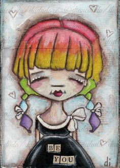 Original Folk Art Mixed Media Painting  The Girl with the Rainbow-Colored Hair by DUDADAZE ©dianeduda/dudadaze