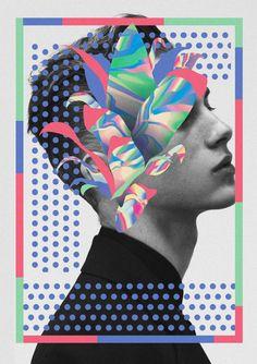 keywords: floral botanical portrait profile fashion model graphic design illustration