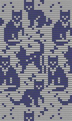 New knitting charts cat kitty 50 Ideas Fair Isle Knitting Patterns, Knitting Charts, Knitting Stitches, Knitting Designs, Knitting Socks, Crochet Cross, Crochet Chart, Crochet Patterns, Fair Isles