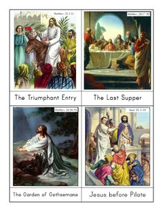 Cards showing the events of Holy week, from Jesus' triumphant entry into Jerusalem, through his crucifixion, and on to his resurrection and appearance to his disciples. These can be used for sequencing, story-telling, and as traditional Montessori 3-part cards