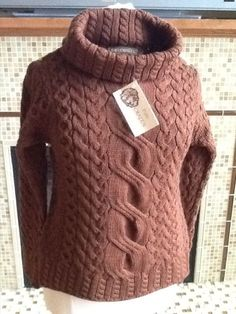 100% Merino Wool Inis Crafts Turtle Neck Cable Sweater Size L Woman #InisCraft #Sweater