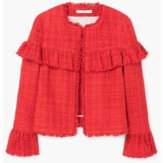 MANGO Ruffle tweed jacket (160 CAD) ❤ liked on Polyvore featuring outerwear, jackets, mango jackets, red ruffle jacket, ruffle jacket, red jacket and tweed jacket