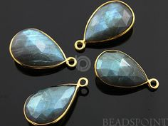 Natural Labradorite Faceted Bezel Pear 24K Gold by Beadspoint, $9.95