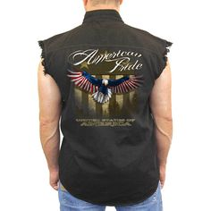 Men's Sleeveless Denim Shirt USA Flag American Pride