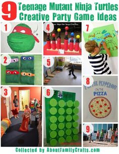 DIY Teenage Mutant Ninja Turtles Birthday Party Ideas – About Family Crafts Turtle Birthday Parties, Ninja Turtle Birthday, Birthday Party Games, Birthday Fun, Carnival Birthday, Birthday Ideas, Ninja Turtle Party, Ninja Party, Ninja Turtle Games