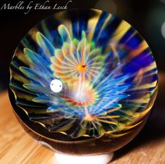 "1.42"" HANDMADE MARBLE SIGNED BY ~ETHAN LESCH~ BOROSILICATE, BORO, ART, MIB #Glass"
