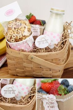 So cute for a morning after the wedding welcome bag brunch Breakfast Basket, Breakfast On The Go, Lunch To Go, Brunch Wedding, Teacher Favorite Things, Food Gifts, Breakfast Recipes, Birthday Gifts, Homemade