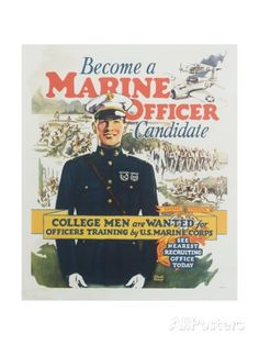 Become a Marine Officer Candidate Poster Travel Giclee Print - 46 x 61 cm Marine Corps Recruiting, Marine Officer, Us Marine Corps, Improvise Adapt Overcome, Folio Books, Once A Marine, Gung Ho, Warrior Spirit, Naval Academy