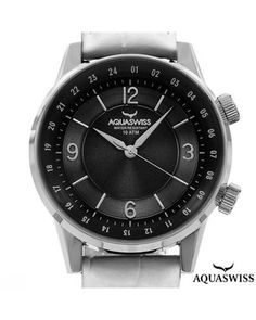 Brand New AQUASWISS Stainless Steel and Leather Watch  Men #Jewelry