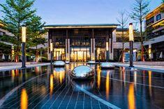 水中雕塑 Form Architecture, China Architecture, Japanese Architecture, Entrance Design, Facade Design, Modern Water Feature, Plaza Design, Swimming Pool Lights, Pond Waterfall