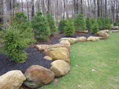 Front Yard Garden Design Best ideas for front yard rock garden 27 Landscaping With Large Rocks, Large Backyard Landscaping, Privacy Landscaping, Landscaping Supplies, Landscaping Tips, Landscaping Software, Backyard Ideas, Landscaping With Boulders, Mailbox Landscaping
