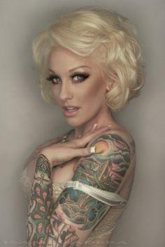 girls with sleeves tattoos, eye makeup, vintage tattoos, big eyes, hair bobs, blondes, hair makeup, wedding makeup, tattoo ink