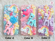 Free Phone Case & Cute Little Pony Rainbow DIY Deco Kit Decoden Kit Cabochon Deco Kit For DIY Cell Phone iPhone 4 4S 5 Case