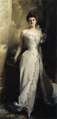 """Portrait of Lisa Colt Curtis (1898). John Singer Sargent (American, 1856-1925). Oil on canvas. The Cleveland Museum of Art.  Sargent depicts an acquaintance, an heir to the Colt firearms fortune, who had recently married her distant cousin Ralph. Curtis wears an elegant satin dress and poses as if she were welcoming guests into her palatial Venetian home. The painting apparently was a wedding gift by the artist; its inscription at the top right reads, """"To Ralph and Mrs. Ralph, John S…"""