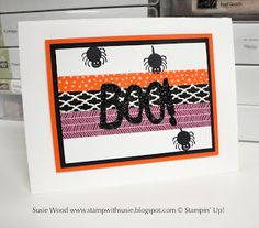 Stampin' Up!- Check out the washi tape with the spiders here using the Boo To You Framelits & coordinating stamp set- 'Howl-o-ween Treats'!