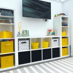 KALLAX Shelving unit – white stained oak effect white stained oak effect – IKEA – Kallax Ideas 2020 Ikea Kids Playroom, Toddler Playroom, Playroom Storage, Playroom Design, Playroom Decor, Kids Room Design, Playroom Ideas, Kids Bedroom, Bedroom Decor
