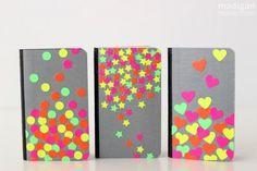 ideas decorar tus cuadernos neón                                                                                                                                                     Más