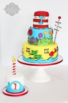 Dr. Seuss Birthday Cake and smash cake.