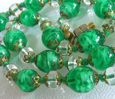 Venetian Glass Beads Necklace Emerald Art by BuyVintageJewelry, $55.00