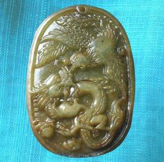 Chinese Old Jade Hand Carved Dragon Phoenix LongFengChengXiang Pendant BH47 Xmas