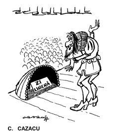 """""""ZI LIBERA"""".  Caricatura de C. CAZACU, publicata in almanahul PERPETUUM COMIC '97 editat de URZICA, revista de satira si umor din Romania"""