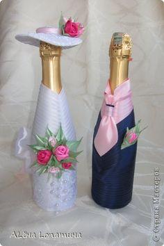 Декор предметов День рождения Свадьба Цумами Канзаши Первые свадебные бутылочки  Бусины Ленты фото 1