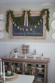 Christmas Chalkboard with Garland and Salt-Dough Gingerbread Ornaments Gingerbread Christmas Decor, Gingerbread Ornaments, Rustic Christmas, Christmas Home, Christmas Holidays, Christmas Crafts, Christmas Decorations, Christmas Ideas, Xmas