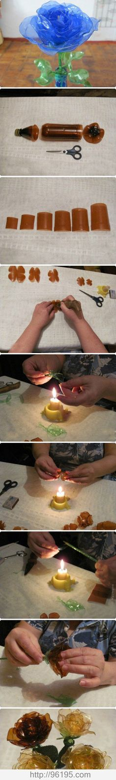 Make Flowers out of plastic bottles