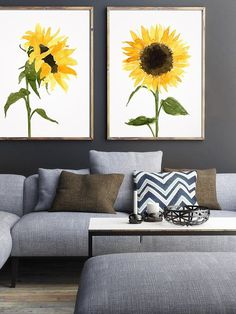 Set of 2 Watercolor Sunflower Love Decor Yellow Elegant Art by LadyWatercolor | Etsy #watercolor #sunflower #color #yellow #love #decor #elegant #art #flower #print