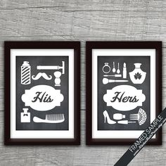 His and Hers Bathroom Prints (series B) - Set of 2 - 5x7 Art Print (Featured in Blackboard) Customizable Bathroom Prints