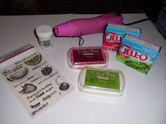 Creating Scratch 'n Sniff Cards With Sugar Free Jello. Tutorial on blog---Skipping Stones Designs.