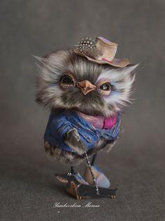 Owl, howlet, teddy, collectible toy O.O.A.K 5.5 - Yamkovskaya Marina