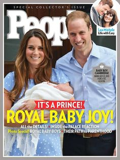 The Royal Baby. Proud parents the Duke and Duchess of Cambridge, William and Kate. People magazine cover.