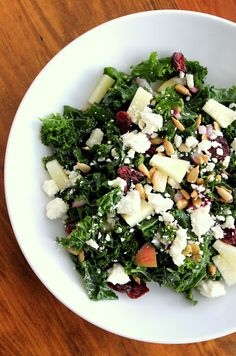 Massaged Kale Salad: red onion, cranberries, apple, sunflower seeds.