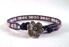 Young At Heart - Single Leather Wrapped Bracelet With Czech Glass Beads