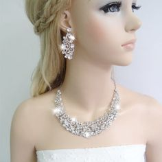 Wedding-Bridal-Art-Deco-Necklace-Earrings-Set-Clear-Austrian-Crystal-Party-Gift