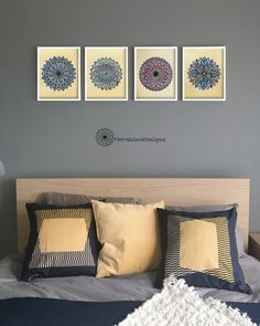 A personal favorite from my Etsy shop https://www.etsy.com/listing/517268151/blue-pink-mandala-prints-set-of-4-hand