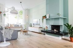 PROJECT - The fireplace is a real eyecatcher in this livingroom after the restyling. More photo's now on BintiHomeBlog including shoplinks! ( link in bio ){ @icharlotte_t & @alpha_2 } #bintihome #interiordesign #interiorstyling #stylist #woonkamer #festamsterdam #style #decor #interior #interieur #rozenkelim #kelim #wall #blue #flexanl #abmlifeiscolorful #abeautifulmess #interior4all #interiors #woonkamer #wooninspiratie