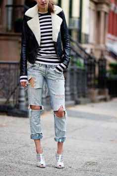 light wash ripped denim + sexy silver metallic ankle boots