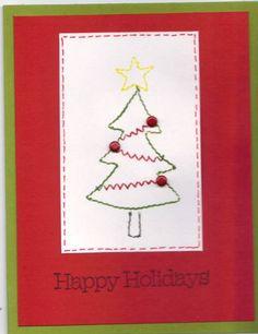 simple card with Sew Seasonal Christmas Tree