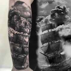 Tattoo Schiff in Wolken 3D Optik