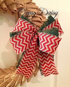 red chevron wreath bow chevron bow chevron by OOPSYDAISYDESIGNS, $13.00