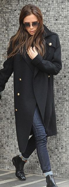 Who made Victoria Beckham's black coat, black boots, and sunglasses that she wore in London? Sunglasses and coat – Victoria Beckham Collection  Shoes – Church