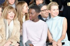 Guiding the girls ~  Anna Wintour, Lupita Nyong'o &  Naomi Watts @ Calvin Klein Collection fashion show during Mercedes-Benz Fashion Week Fall 2014 at Spring Studios on Feb. 13, 2014 at NYFW.  Photo by Larry Busacca/Getty Images