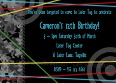 Laser Tag Birthday Party Invitations
