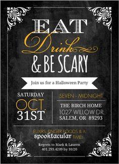 Chalkboard Vintage Frame Halloween Party Invitation by PurpleTrail.com. #vintagehalloweenpartyinvitations #vintagehalloweenparty #halloweenpartyinvitations
