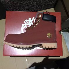 new red timbers boots with gold for women